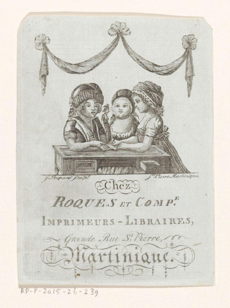 Carte de visite des imprimeurs-libraires Chez Roques et compagnie, Martinique, gravure de James Poupard, c. 1774-c. 1793