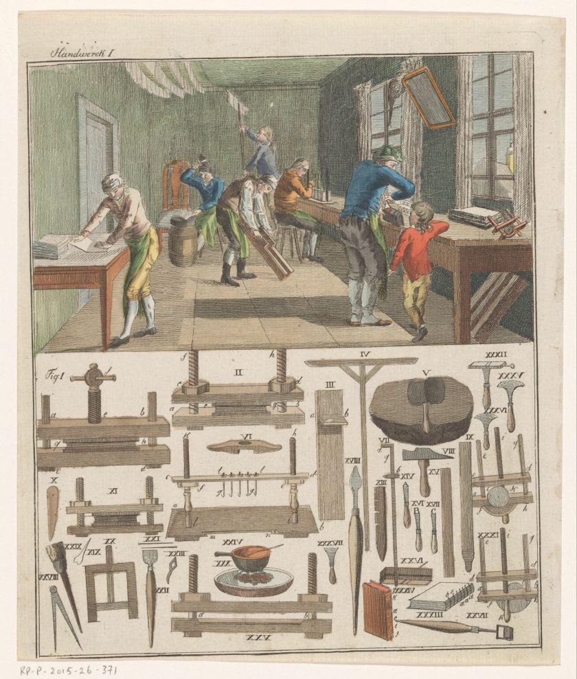 Intérieur d'un atelier de reliure, gravure anonyme, circa 1750-1850