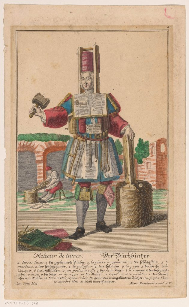 «Un relieur de livres», gravure anonyme, Augsbourg, 1708-1756