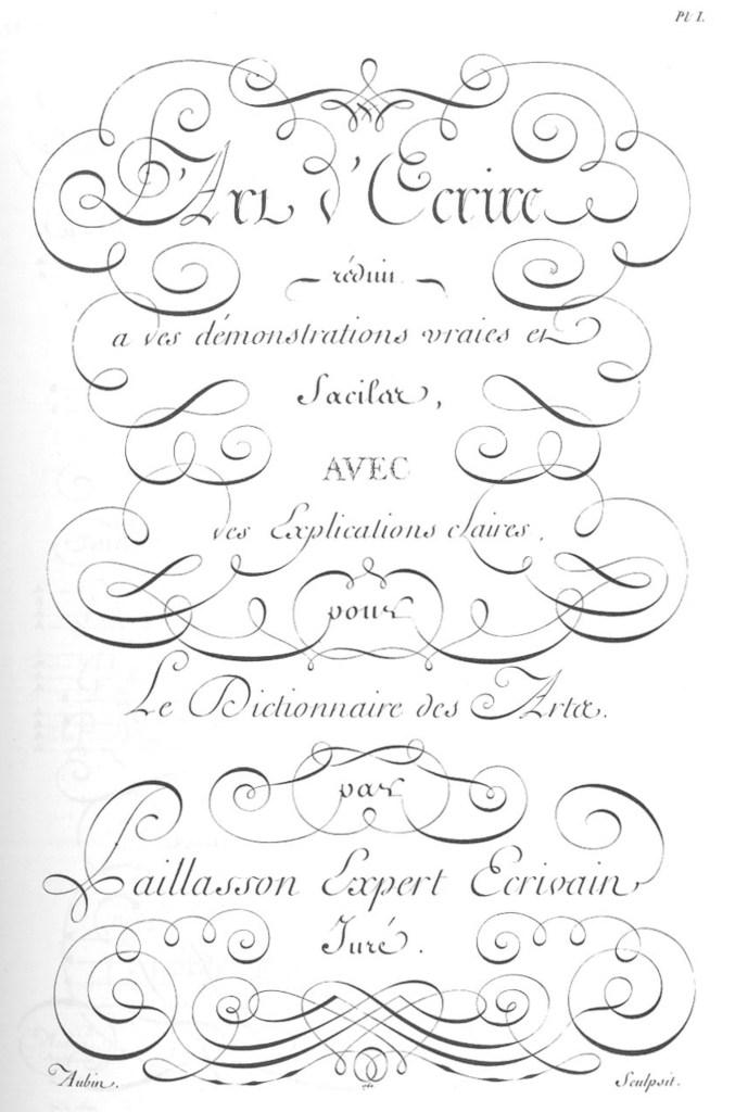 «Écritures», gravure d'Aubin, deuxième volume des planches de l'Encyclopédie, Paris, 1763, planche I