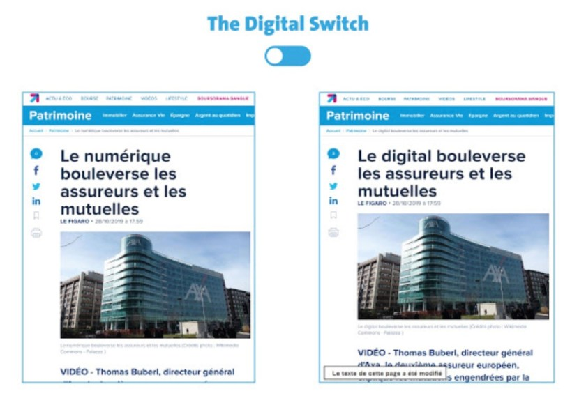 Extension «The Digital Switch», pour fureteur Chome, exemple