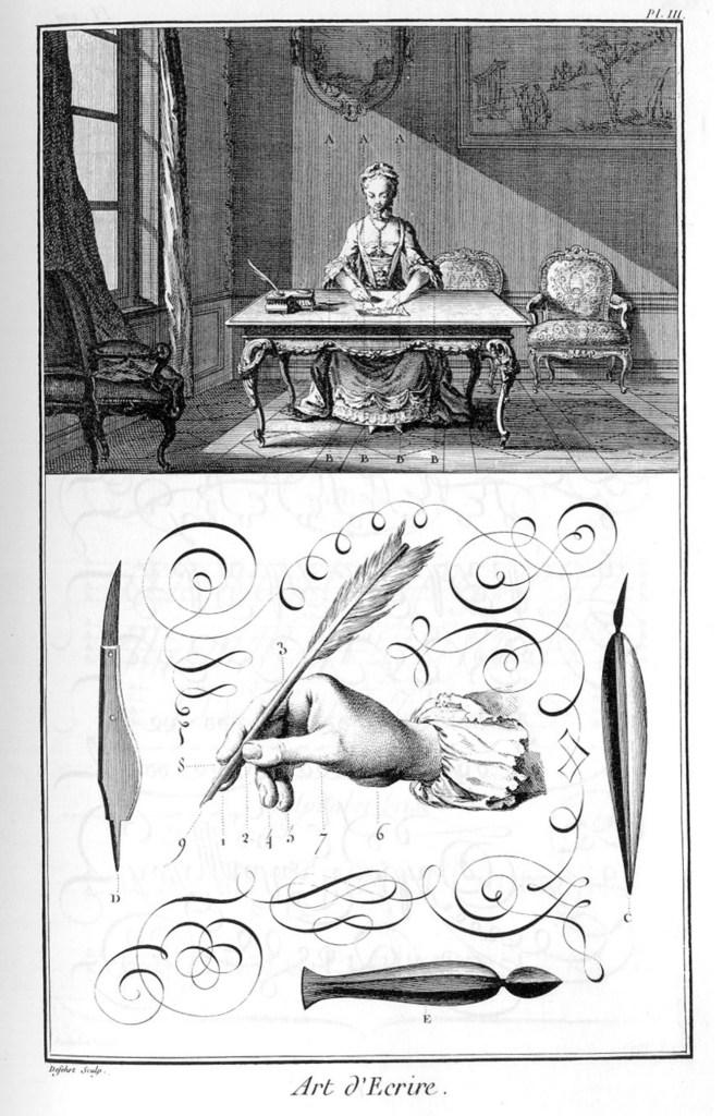 «Écritures», gravure d'Aubin, deuxième volume des planches de l'Encyclopédie, Paris, 1763, planche III