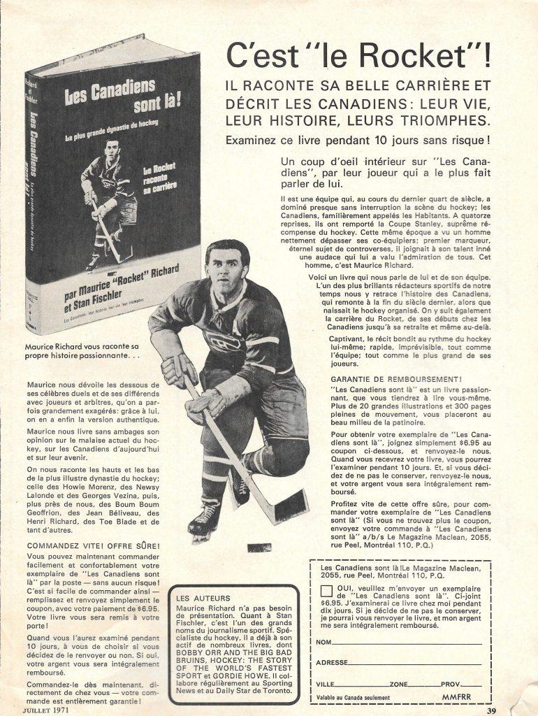 Le Magazine Maclean, juillet 1971, publicité pour Les Canadiens sont là !