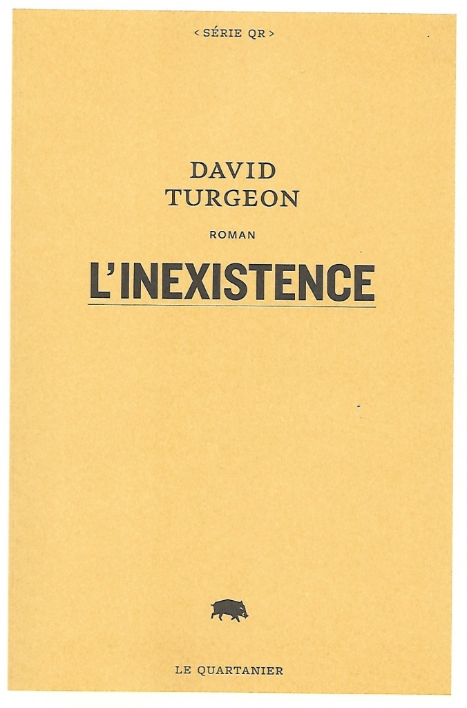 David Turgeon, l'Inexistence, 2021, couverture
