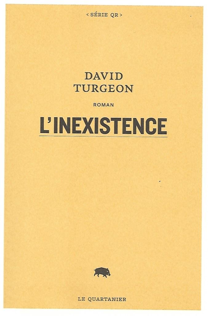David Turgeon, l'Inexistence, 2021, couverture