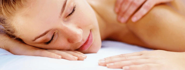Massage.Blonde Woman.Blue Background.1280Pixels__06.05.14