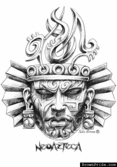 awesome-aztec-mask-tattoo-design-by-pedro-alvarez