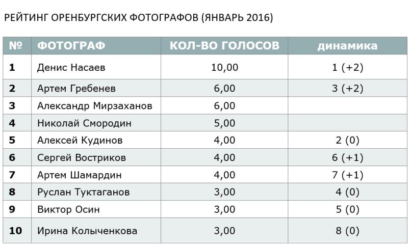 РЕЙТИНГ ОРЕНБУРГСКИХ ФОТОГРАФОВ (ЯНВАРЬ 2016)