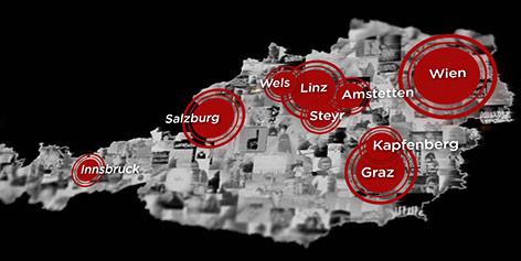 Österreich-Karte mit Verteilung der IS-Sympathisanten