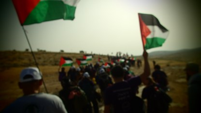 Sumud Freedom Camp direct action. (Photo by: Andrew Johnson, 2017)