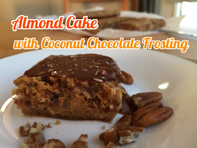 Almond cake with chocolate coconut frosting. Easy and delicious.