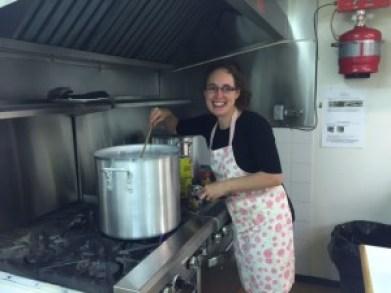 Petra helping prepare Orgali Foods.