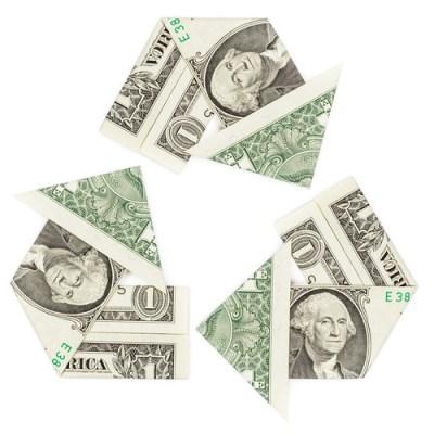 One dollar bills in a recycle symbol