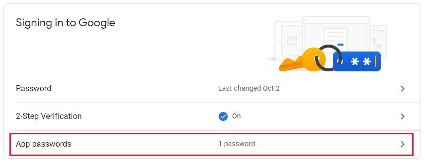 select app passwords