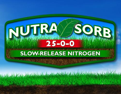 large green and orange nutrasorb 30-0-0 logo supplemental premium nitrogen source over blue sky background grass and dirt