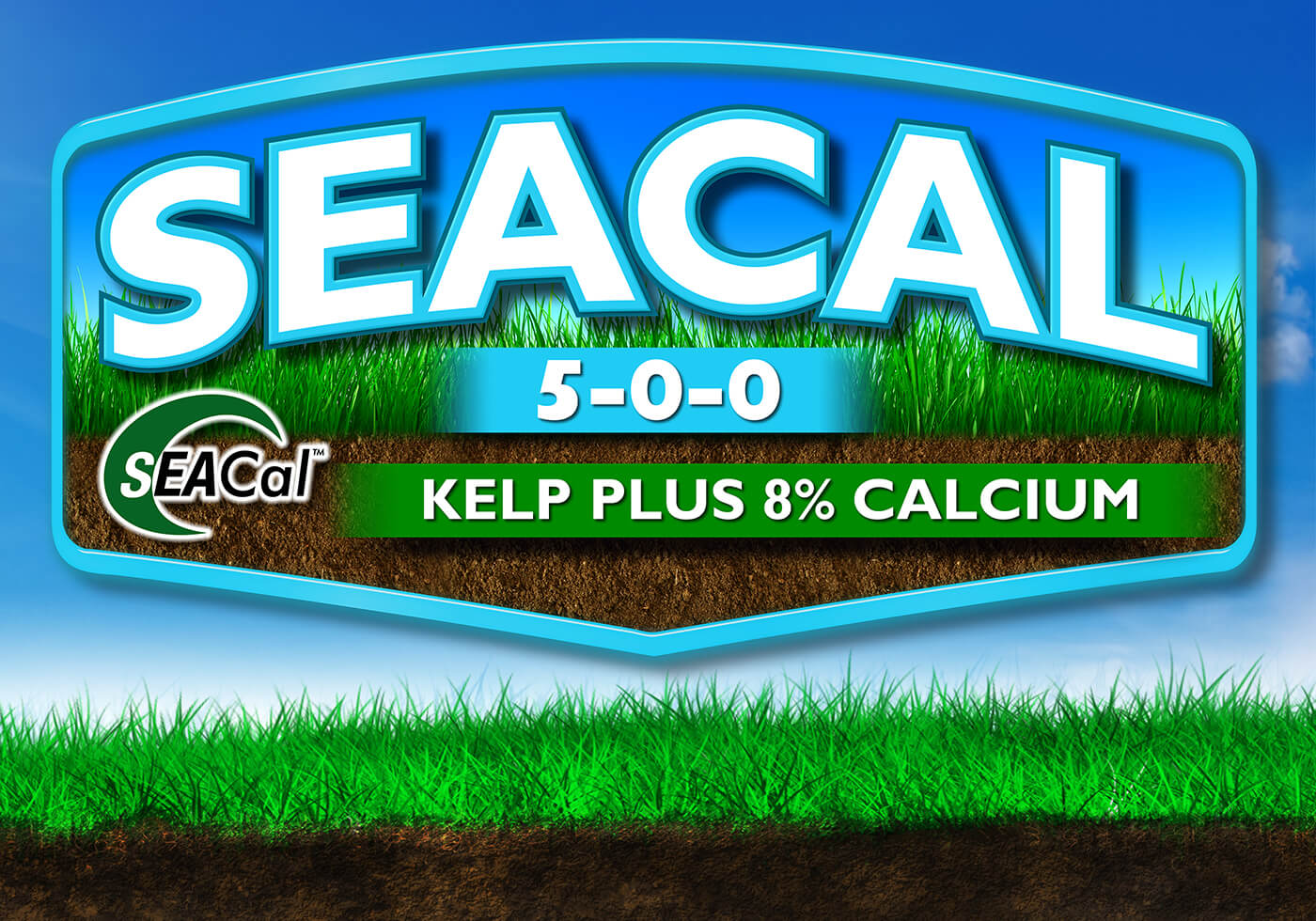 large light blue and white seacal 5-0-0 logo kelp plus 8 percent calcium over blue sky background grass and dirt