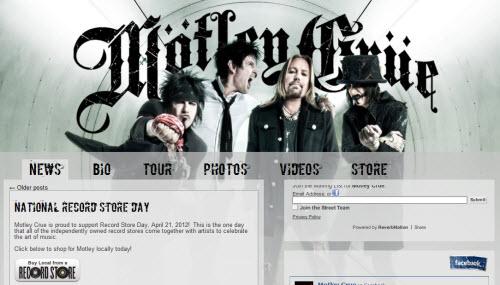 The Website of Motley Crue is run using WordPress software