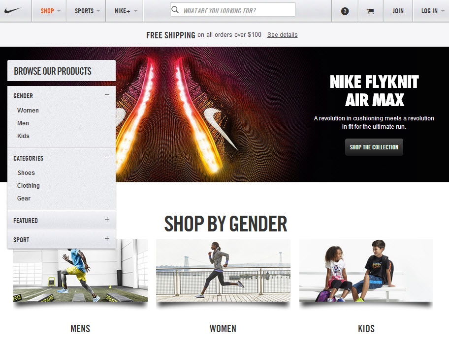 Nike sports ecommerce website