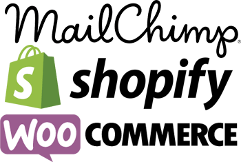 Mailchimp, Shopify and WooCommerce logos