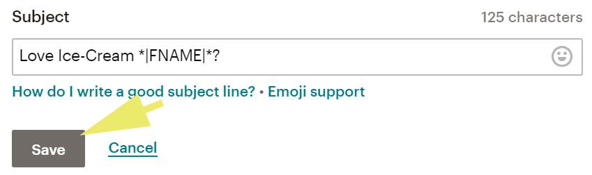Mailchimp button content block settings