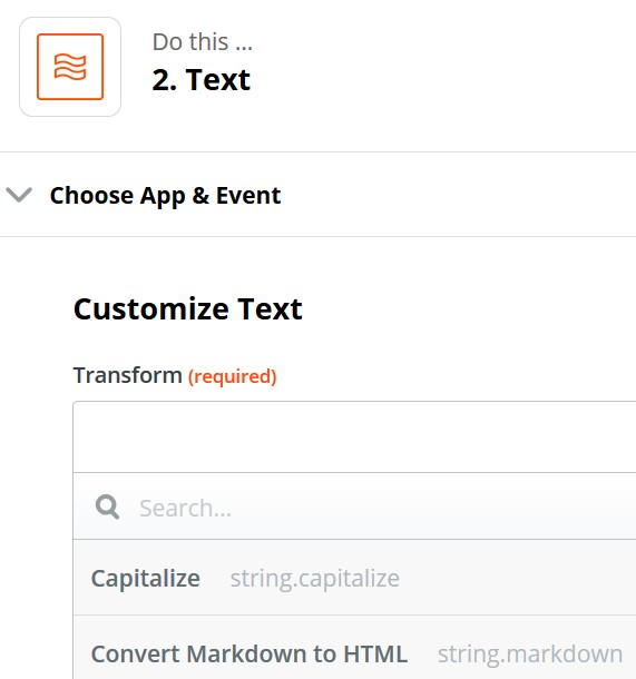 Zapier Capitalize selection