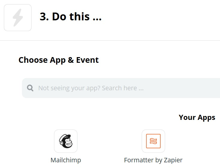 Selecting Mailchimp in Zapier
