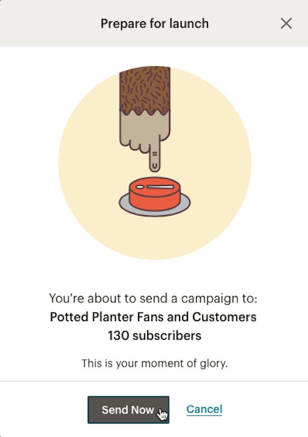 Sending a Mailchimp email campaign