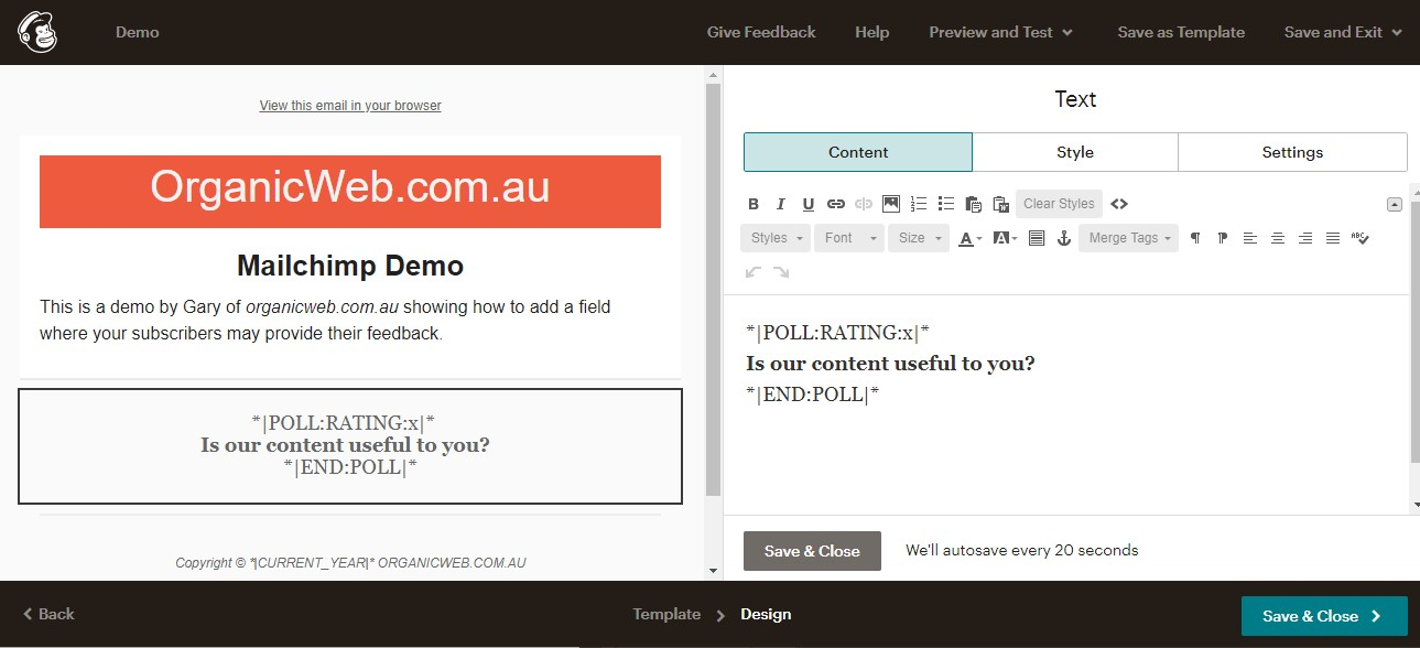 Editing the Mailchimp text block to add a poll