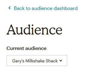 Selecting a Mailchimp Audience