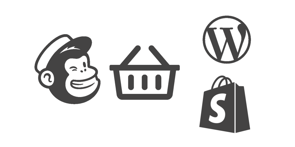 Mailchimp, Shopify and WordPress WooCommerce logos