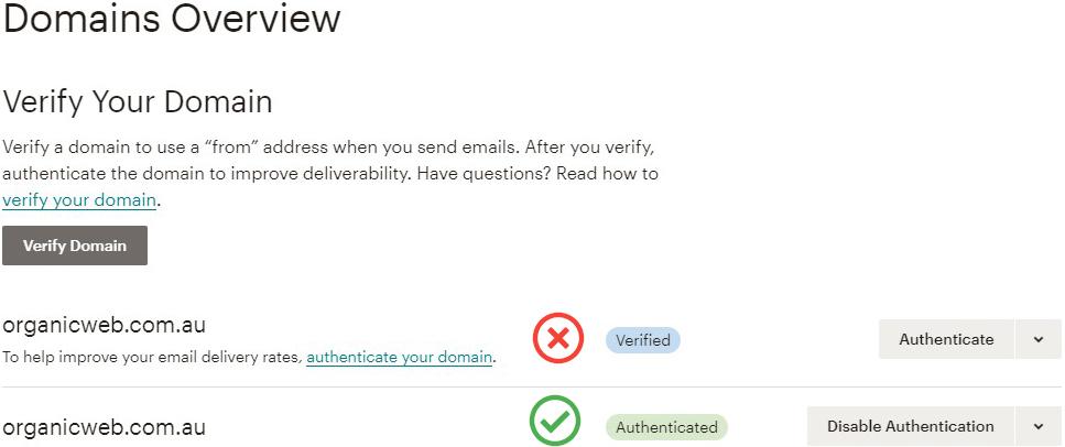 Mailchimp domains