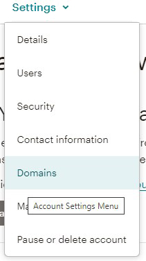 Mailchimp domain settings