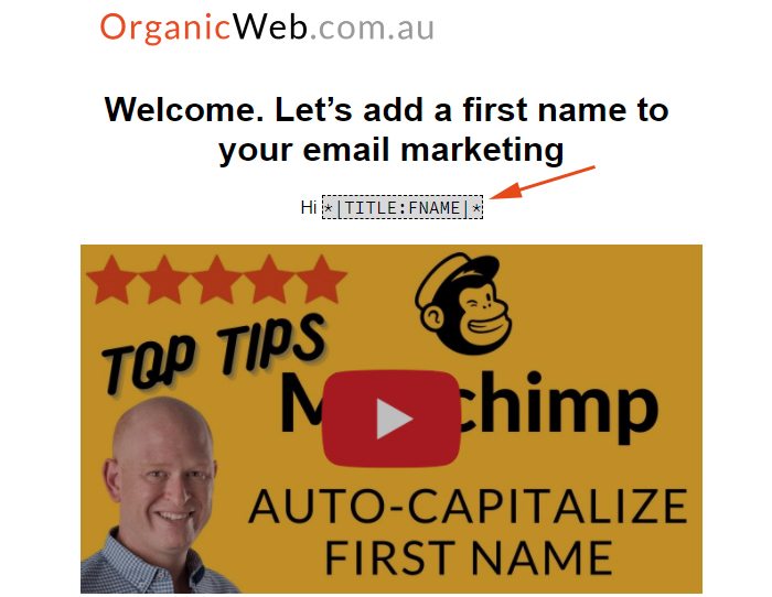 Uppercase the first letter of Mailchimp first names