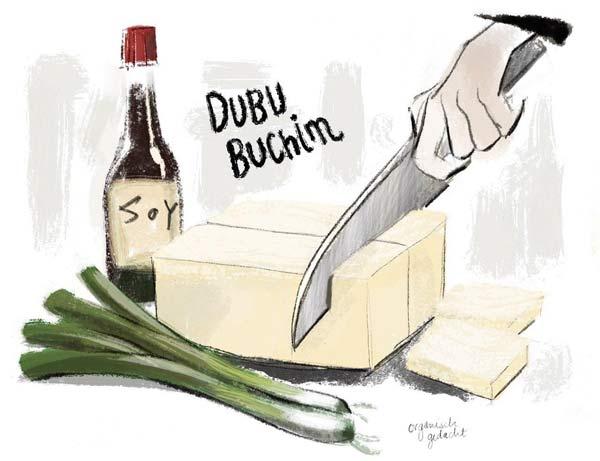 Illustration Tofu schneiden wie beschrieben