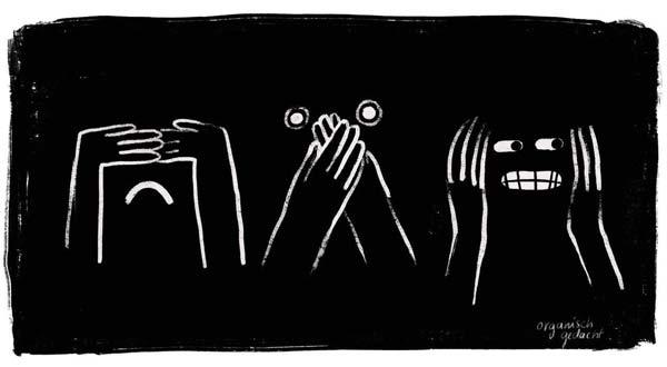 Illustration auf der sich die erste Figur die Augen abdeckt, die Zweite den Mund und die dritte die Ohren