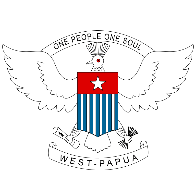 West Papua coat of arms, including text: ONE PEOPLE ONE SOUL