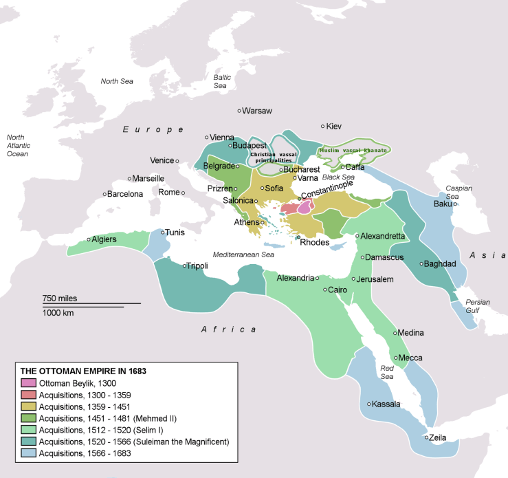 Map showing the spread of the Ottoman caliphate.