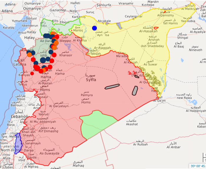Map of the Syrian war as of October 13, 2019. Government (Ba'athist) areas are shown in red. Green areas are a mix of Western-backed militias (in Al-Tanf), Free Syrian Army remnants (in Idlib) and Turkish-backed militias (in the far north). Yellow is areas controlled by the SDF and Kurds. Black shows hardline Islamist remnants. Blue shows Israeli occupation.