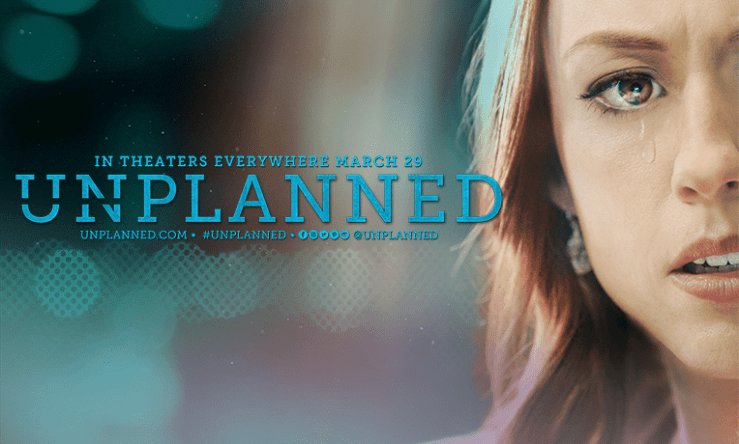 Promo pic for a film featuring a white woman with a tear falling from her eye and the text: In Theaters Everywhere March 29 UNPLANNED unplanned.com #unplanned, then social media icons
