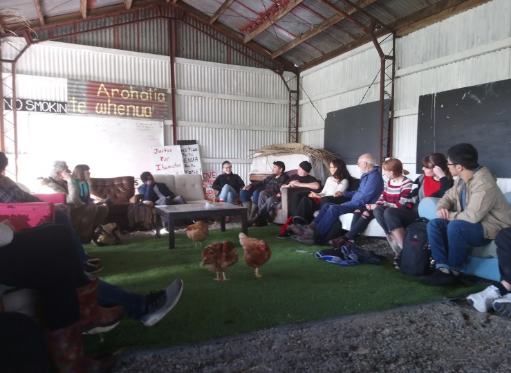 OA holds a workshop on non-violent direct action at Kaitiaki Village.