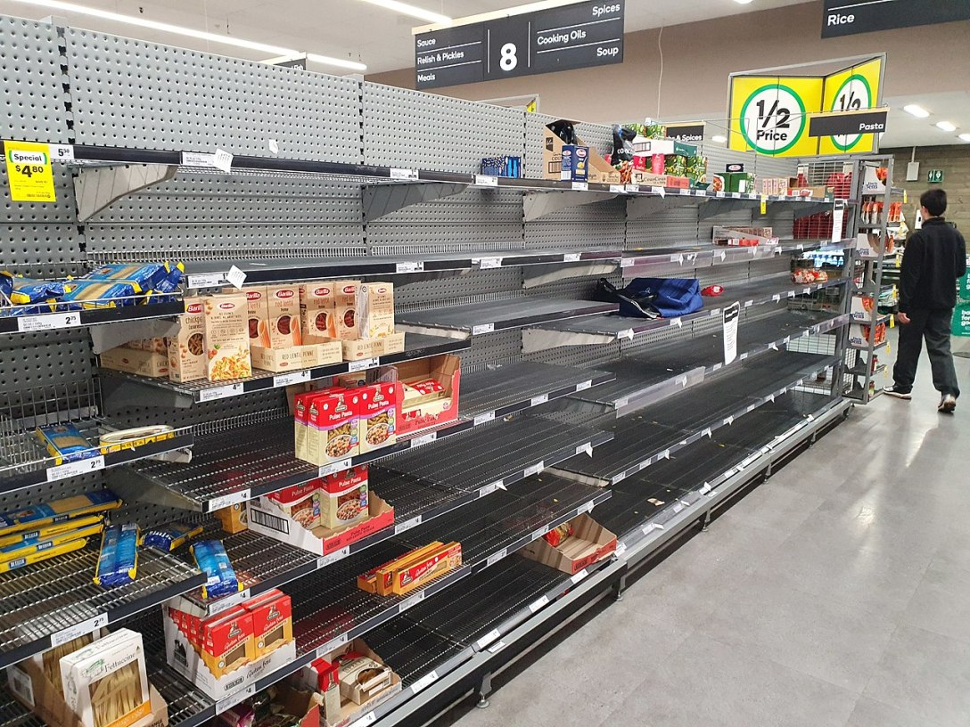 supermarket shelves that stock dry pasta varieties are almost empty