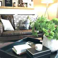 Living Room Ottoman Ideas Stone Wall Tiles For Really Easy Tray Styling Tips And That Work With Greenery On