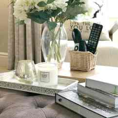 Living Room Ottoman Ideas Toy Storage For Really Easy Tray Styling Tips And That Work The Top Of An With Trays On Containing Flowers Books Candles