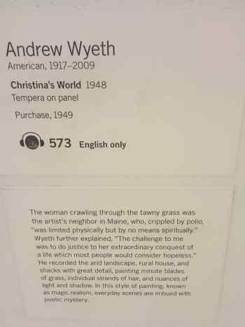 Informationstext som hängde bredvid tavlan på muséet.
