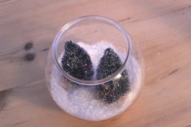 A snowy bowl with Christmas trees