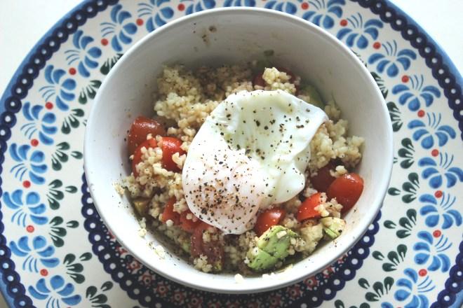 Bulgar Wheat with avocado and egg salad - so fresh