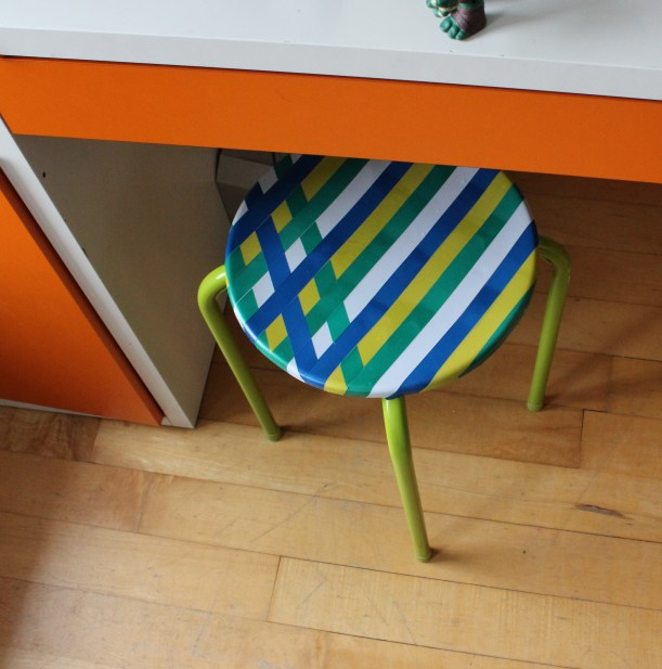 Updating a stool with electrical tape - OrganisingChaosBlog