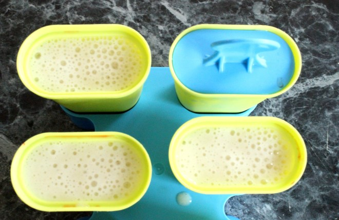 Banana, almond milk and honey for healthy ice-pops