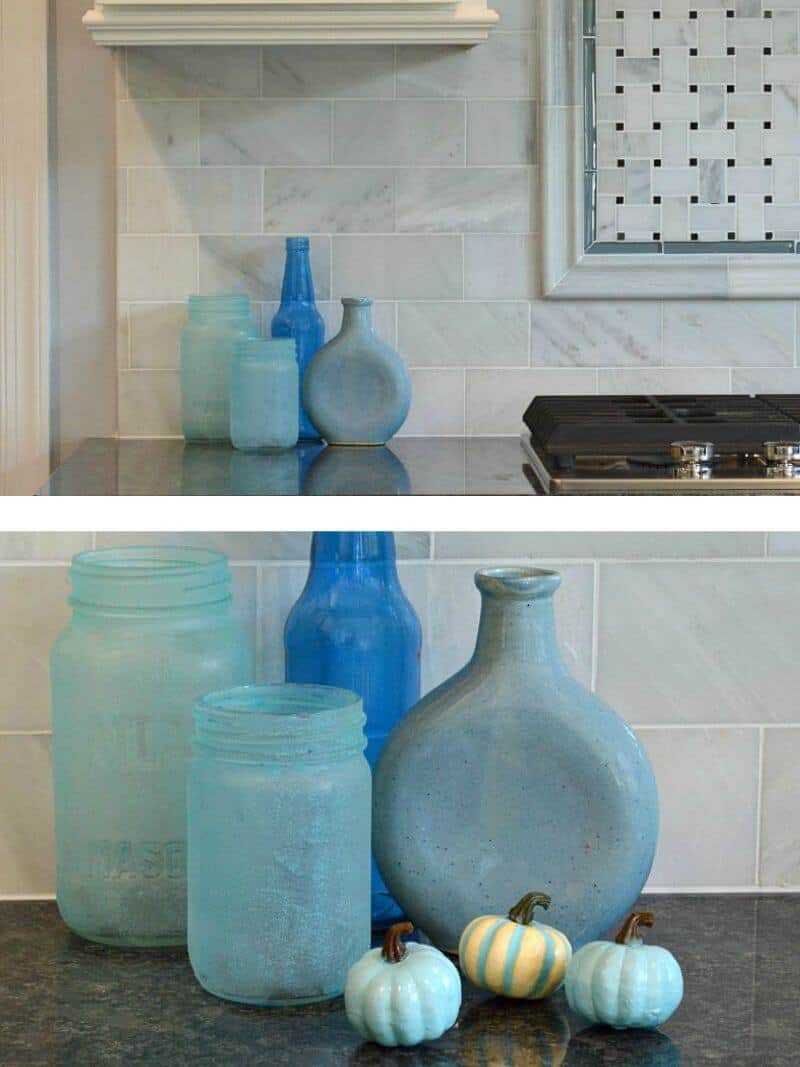 Adventures In Decorating Our 2015 Fall Kitchen: DIY Blue Pumpkins Fall Decor