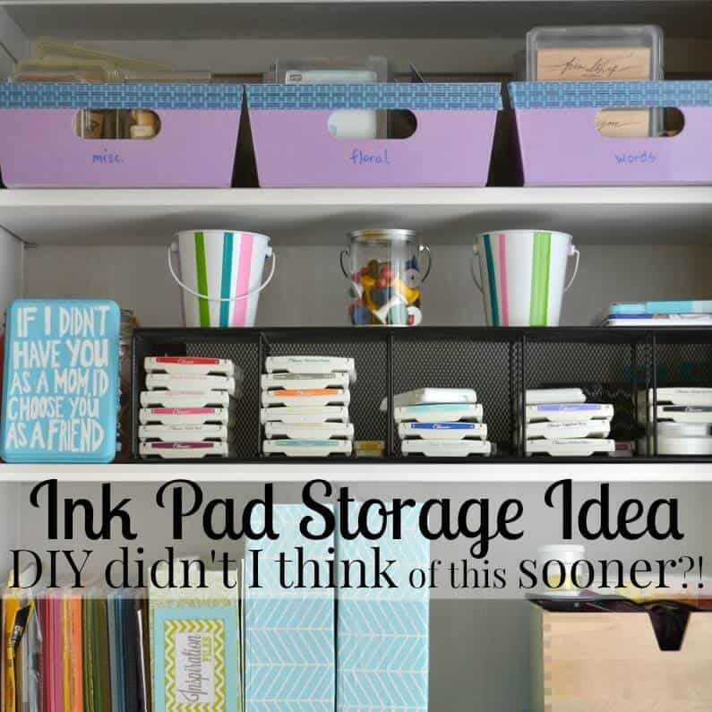 Ink pad storage idea using a repurposed thrifted item that has made my crafting life much easier. DIY didn't I think of that sooner?! [sponsored] | Organized 31